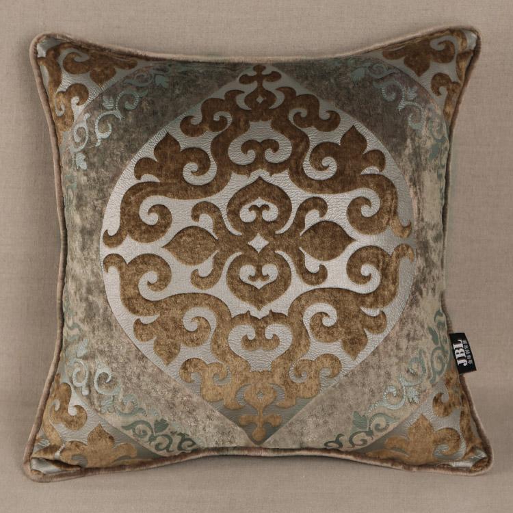 巴瑞雅家居 欧式新古典高档雕印绒布抱枕 办公室沙发靠垫靠枕
