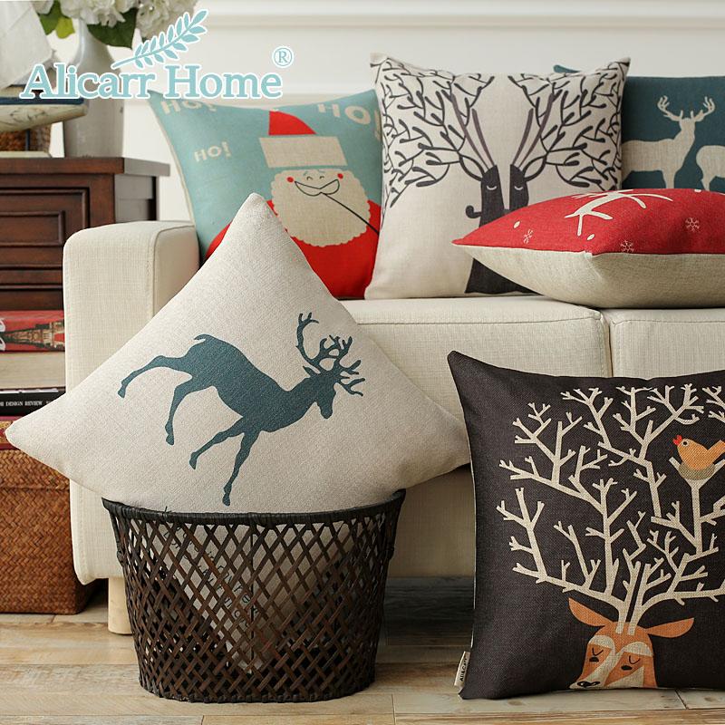 北欧风格鹿欧式现代沙发靠垫美式抱枕办公室靠枕方枕含芯棉麻创意